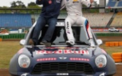 Two champions swap cockpits: Martin Tomczyk drives the MINI ALL4 Racing, Nasser Al-Attiyah the BMW M4 DTM.