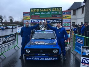 Top placed Mayo local crew & winners of the Margaret  McGreal Memorial Cup Barry Cuffe (Castlebar ) & Stephen McGing (Westport)  Pic Andy Walsh