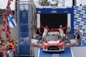 Craig Breen and Scot Martin on the podium Breen's result is the best ever achieved by a Republic of Ireland driver in the World Rally C