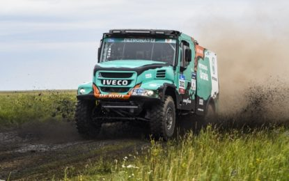 2 x IVECO Trucks on the Podium SS4 Silk Way Rally