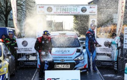 Cave celebrates in Cork in BRC at West Cork Rally