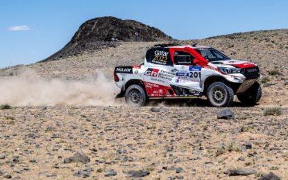 Nasser Saleh Al-Attiyah & Matthieu Baumel lead Silk way in Overdrive Toyota Hilux